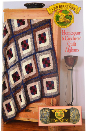 Lion Brand 6 Crocheted Quilt Afghans Homespun - Book