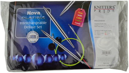 "Knitter's Pride Nova Platina 24"", 32"" & 40"" Interchangeable Circular Knitting Needles Deluxe Set (9 Pairs)"