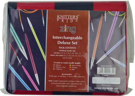 """Knitter's Pride Zing 24"""", 32"""" & 40"""" Interchangeable Circular Knitting Needles Deluxe Set (9 Pairs)"""