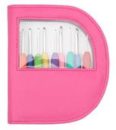 Knitter's Pride Waves 9-Pack Single Ended Crochet Hooks Set with Pink Case