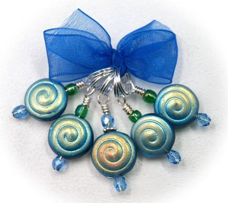 Debras Garden Blue Swirls (Small Rings) - Ring & Lace Marker