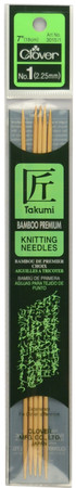 "Clover Tools Takumi Bamboo 5-Pack 7"" Double Point Knitting Needles (Size US 1 - 2.25 mm)"
