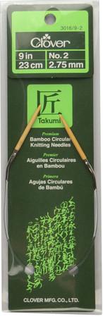 "Clover Tools Takumi Bamboo 9"" Circular Knitting Needle (Size US 2 - 2.75 mm)"