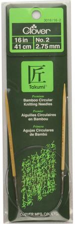 "Clover Tools Takumi Bamboo 16"" Circular Knitting Needle (Size US 2 - 2.75 mm)"