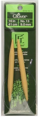 "Clover Tools Takumi Bamboo 16"" Circular Knitting Needle (Size US 13 - 9 mm)"