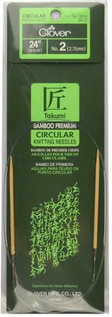 "Clover Tools Takumi Bamboo 24"" Circular Knitting Needle (Size US 2 - 2.75 mm)"