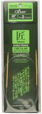 "Clover Tools Takumi Bamboo 48"" Circular Knitting Needle (Size US 2 - 2.75 mm)"