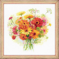 Riolis Cross Stitch Watercolour Gerberas Cross Stitch Kit