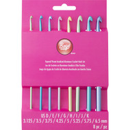 Boye Tools 8-Pack Tapered Throat Anodized Aluminum Crochet Hook Set (Sizes US D-K)