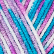 Red Heart White/Turq/Violet Print Comfort Yarn (4 - Medium)