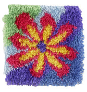 "WonderArt Flower Power 12"" x 12"" Shaggy Latch Hook Kit"