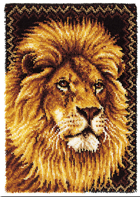 "WonderArt Lion 27"" x 40"" Latch Hook Kit"