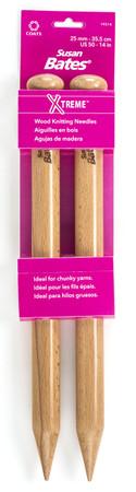 "Susan Bates Xtreme 2-Pack 14"" Single Point Wood Knitting Needles (Size US 50 - 25 mm)"
