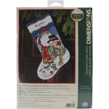 Dimensions Santa & Snowman Stocking Cross Stitch Kit