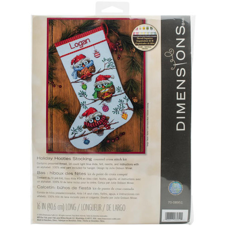 Dimensions Holiday Hooties Stocking Cross Stitch Kit
