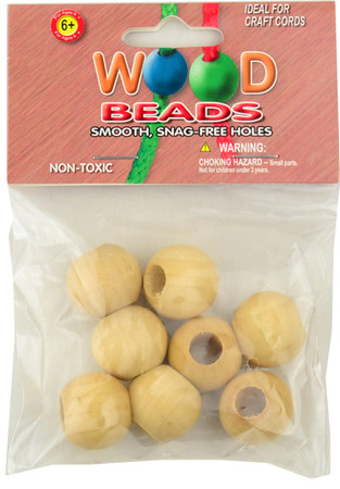 Pepperell 8-Pack Natural Round Wood Beads (20 mm)