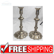 "Vtg 11"" Tall column Brass Silver Candlesticks Mid Century candle holder pewter"
