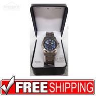 Men's Watch - Blue Face Sharp Silver