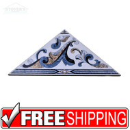 6x13 Ceramic Deco | Set of 4 | Dune | Etna Azul Triangulo
