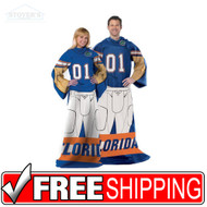Florida University Gators Football Player Uniform Throw Snuggie Blanket SLEEVES
