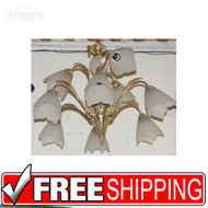 Brass 9 Light Chandelier Hanging Tulip 2 Tier Lamp