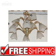 Brass 9 Light Chandelier Hanging Tulip 2 Tier Lamp