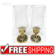 "Vtg Pair 8"" Glass & Brass Candlesticks candle holder Hollywood Regency Christmas"