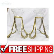 Set Vintage Glass and Brass Hollywood Regency Mouth Blown Hand Crafted Vases