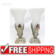 Set Vintage Glass and Silver Hollywood Regency Mouth Blown Hand Crafted Vases