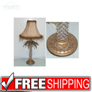 Tropical Palm Tree Beaded Table Lamp with Shade VTG Ornate copper Leaves NOS