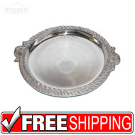 "VTG New old Stock 18"" Brass Silver plated Heavy Serving Tray Centerpiece"