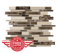 Cracked Linear Latte | Glass Mosaic | 526254 | FOB TN | FREE SHIPPING