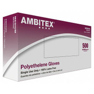 AMBITEX POLYETHYLENE DISPOSABLE GLOVES MEDIUM 500-PACK | BROWN PALLET