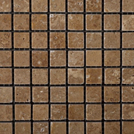 Noce Travertine Tumbled | Stone Mosaic | 5/8 x  5/8