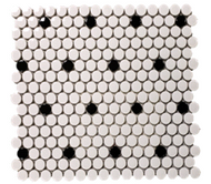 SATIN WHITE/BLACK | Glass Mosaic | FE051HEX35HD1P