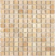 Tumbled Giallo Travertine | 1X1 Mosaic | FOB TN | FREE SHIPPING