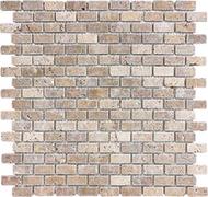 Tumbled Noce Travertine   Mini Brick Mosaic   FOB TN   FREE SHIPPING