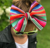 "Super soft stretchy fabric with wide band &  7"" bow"