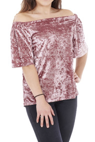 Crushed Velour Of Shoulder Top (Pink)