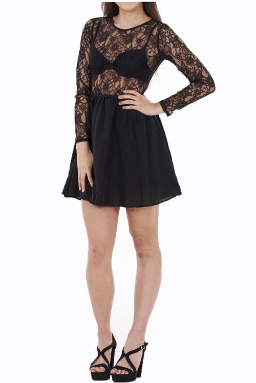 Black Lace Long Sleeve Skater Dress Luv2nv
