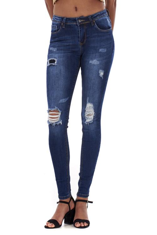 Vivien Dark Blue Distressed Skinny Jeans luv2nv.com