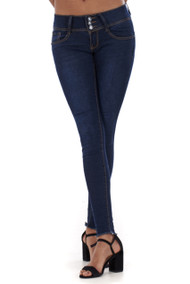 Chelsea 3 Button Frayed Hem Skinny Jeans-Luv2nv