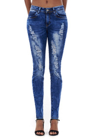 Gabby Distressed Acid Wash Skinny Jeans luv2nv.com