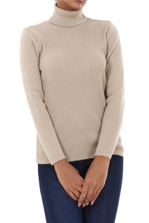 Sasha Ribbed Polo Neck Sweater-Luv2nv