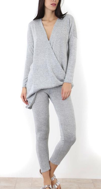 Dani Grey Wrap Loungewear Set