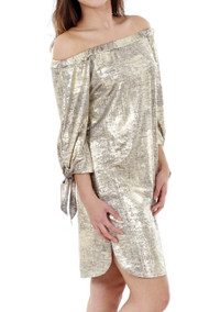 Maya Gold Metallic Bardot Dress luv2nv
