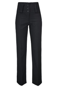 Ladies 4 Button High Waist Trousers - Black