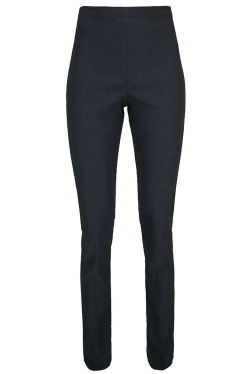 Ladies Plain High Waist Skinny Trousers - Black