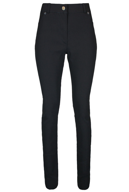 Ladies High Waist 1 button Skinny Trousers – Black