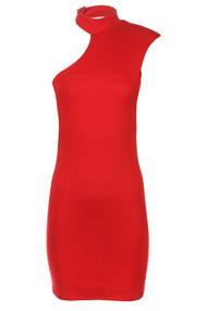 Red Sleevless One Shoulder Dress
